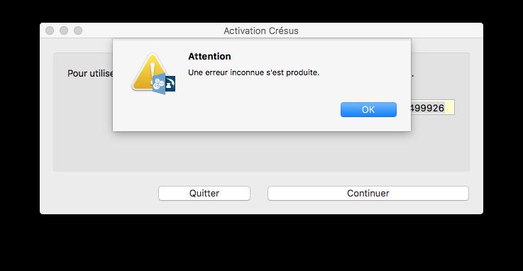 Activation - Erreur inconnue